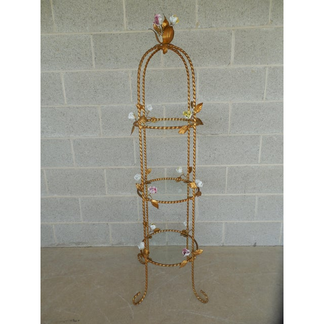 Features fine quality construction,Gold Gilt Painted Twisted Metal Design Frame, Hand Painted Rose Petals, 3 Removable...