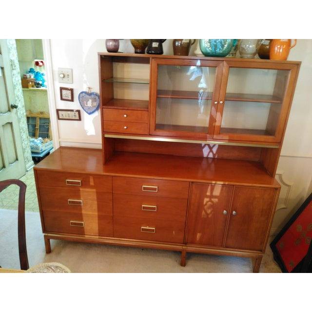 Wood Kipp Stewart for Drexel Sun Coast Credenza With Hutch For Sale - Image 7 of 11