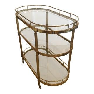 Mid-Century Modern Brass and Glass Oval Bar Cart