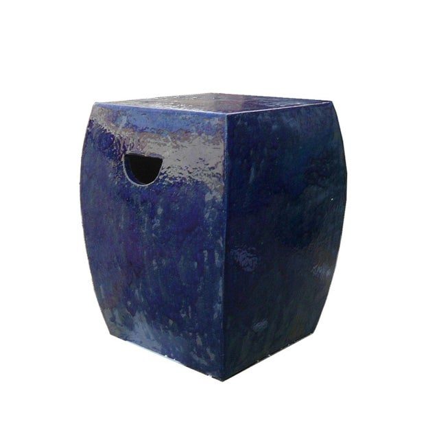 Asian Chinese Navy Blue Clay Garden Stool For Sale - Image 3 of 5