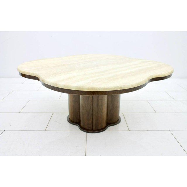 Travertine Cloud Coffee Table With Wood Base, 1970s For Sale - Image 4 of 10