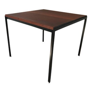 "Florence Knoll ""T"" Angle Mahogany and Iron Dining Table"