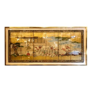 Japanese Brilliant Silk Gilt Screen Six-Panel Under Glass Gold Framed For Sale