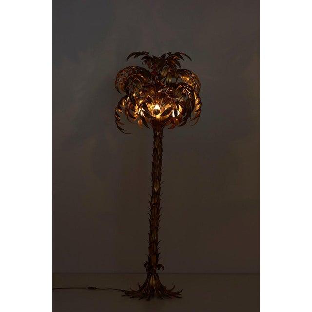 Gold Huge Gilt Metal Palm Tree Floor Lamp by Hans Kögl For Sale - Image 8 of 9