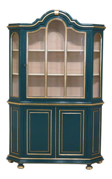 Dutch Style Painted Lacquer China Cabinet