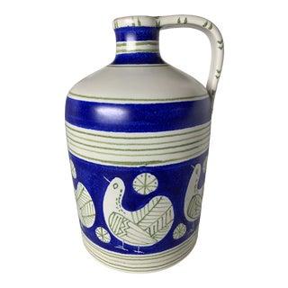 1960s Vintage Alvino Bagni Italian White Ceramic Pottery Jug Vase For Sale