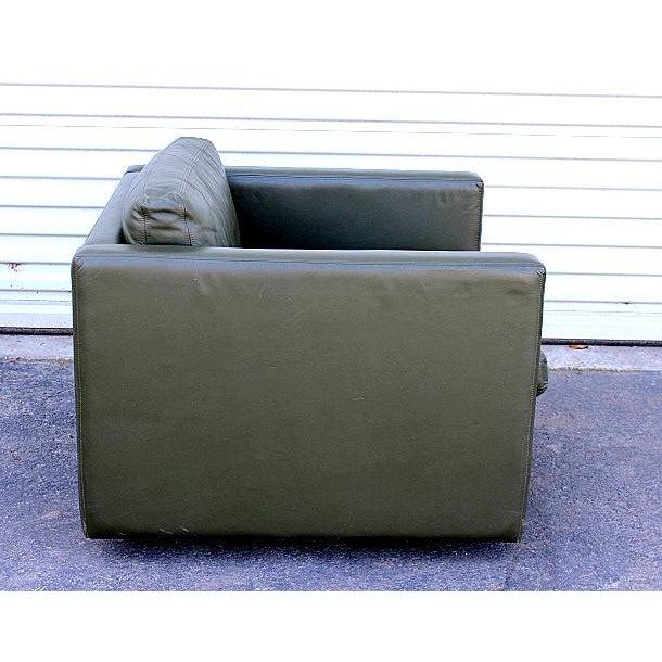 Excellent Knoll Mid Century Green Leather Cube Chair Chairish Creativecarmelina Interior Chair Design Creativecarmelinacom