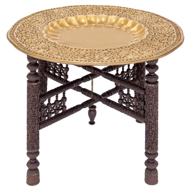 Anglo-Indian Anglo-Indian Folding Brass Tray Table For Sale - Image 3 of 12