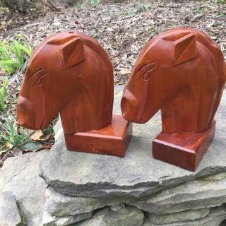 1960s Vintage Art Deco Taverneau Wood Horse Head Bookends- A Pair Preview