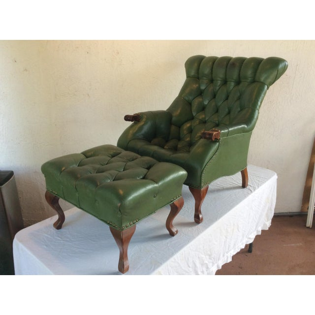 Mid Century Green Leather Spoon Chair and Ottoman For Sale - Image 12 of 12