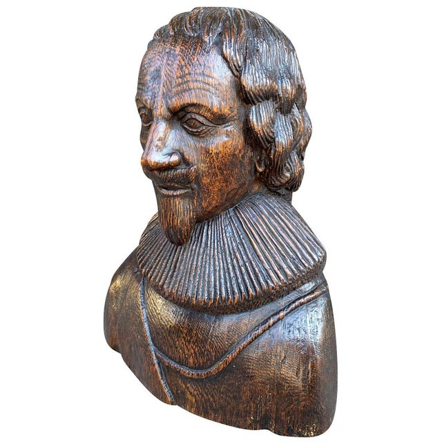 Carved Oak Bust of a Gentleman Possibly Charles I For Sale In Boston - Image 6 of 6