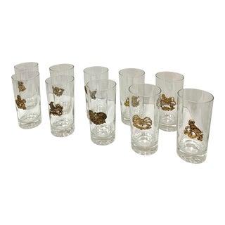 1960s Mid-Century Modern Zodiac Highball Glasses - Set of 10 For Sale