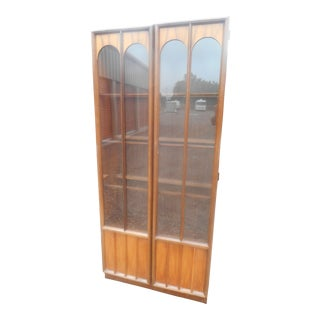 1960's Danish Modern Walnut Lighted Display Cabinet For Sale