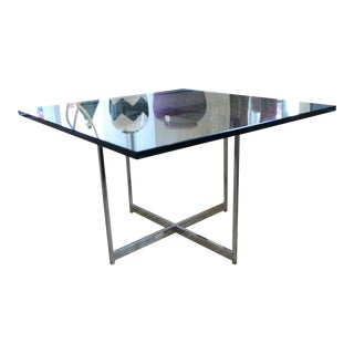 Mid Century Modern Nicos Zographos Nickel Plated Solid Steel & Glass Table For Sale