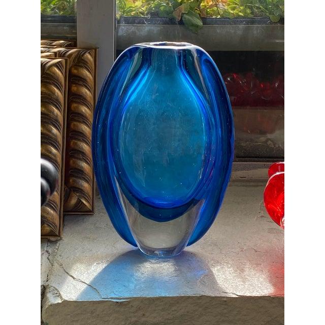 Mid 20th Century Vintage Mid Century Blue Art Glass Vase For Sale - Image 5 of 7