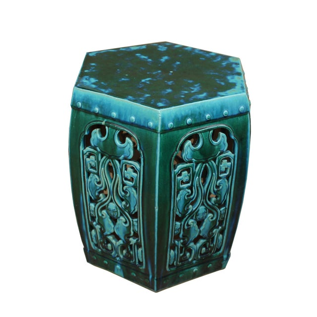 Ceramic Clay Green Turquoise Glaze Hexagon Motif Garden Stool Table For Sale - Image 4 of 7