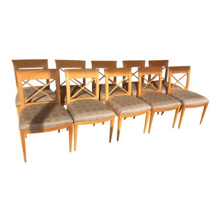 1980s Vintage Charles Pfister Baker X Back Chairs- Set of 10 For Sale