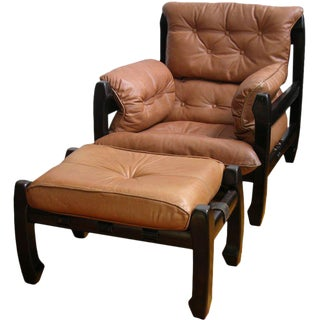 Luciano Frigerio 1970s Italian Mahogany Tan Leather Lounge Armchair & Ottoman For Sale