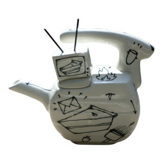 Mid-Century Modern Glazed and Decorated Porcelain Teapot, Signed For Sale