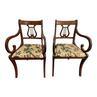 Antique Wood Lyre Chairs- a Set of 2 For Sale