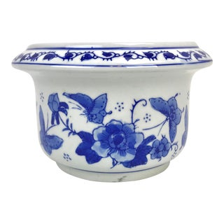 Blue and White Chinoiserie Planter For Sale