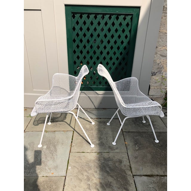 """Woodard Furniture Co. 1950s Woodard """"Sculptura"""" White Patio Chairs - a Pair For Sale - Image 4 of 14"""