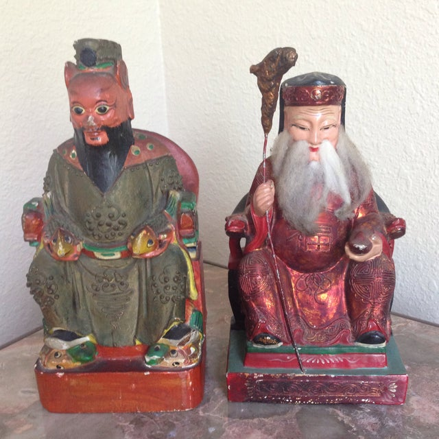 If you have an Asian decor - these polychrome painted antique Chinese bookends are just what you need. Although these are...