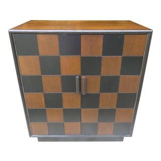 Mid-Century Lane Black & Brown Walnut Storage Cabinet For Sale