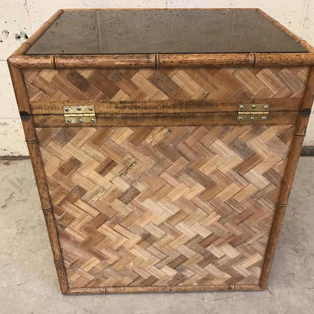 Bamboo & Herringbone Parquet Trunk Chest For Sale - Image 5 of 11