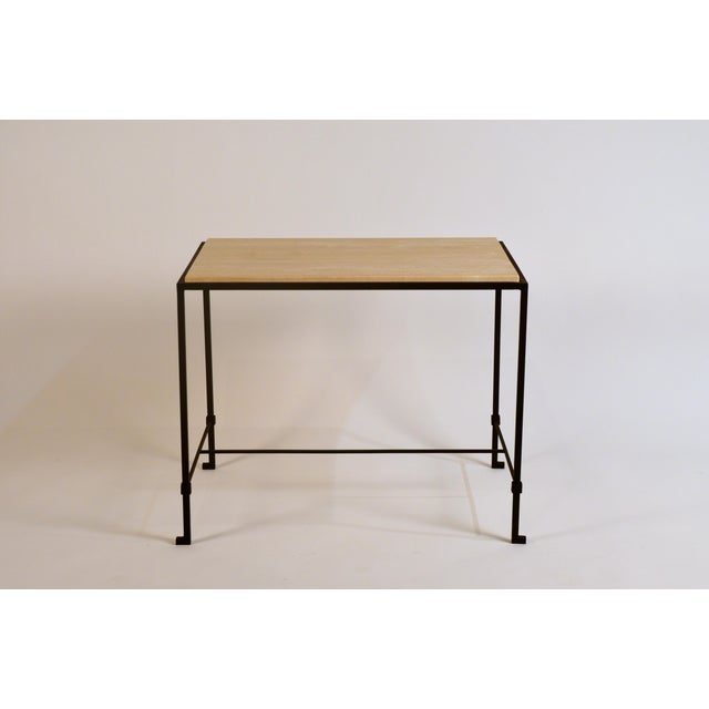 Contemporary 'Diagramme' Wrought Iron and Travertine Side Tables by Design Frères - a Pair For Sale - Image 3 of 9