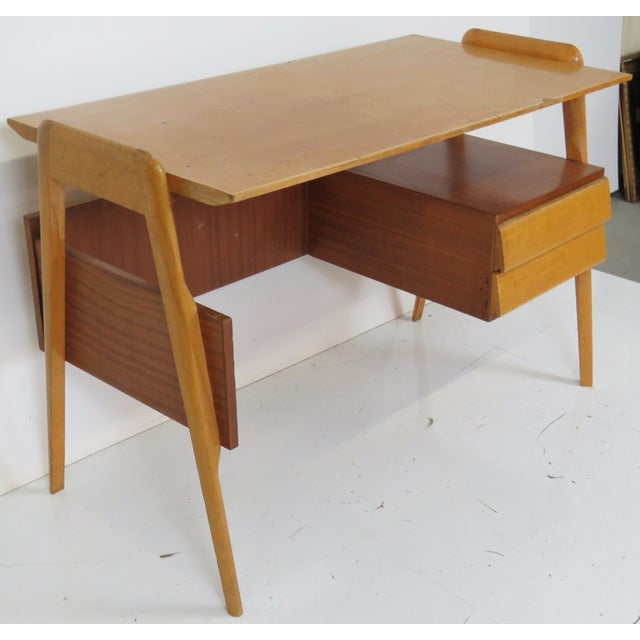 Modern Italian Ico Parisi Style Teak Desk - Image 2 of 5