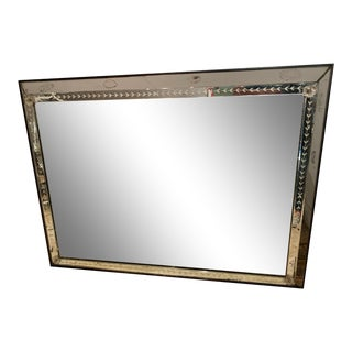 Very Large Vintage Etched Rectangular Mirror For Sale
