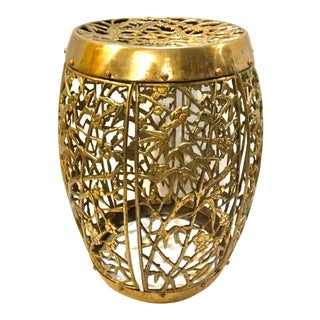 Brass Chinoiserie Garden Stool For Sale