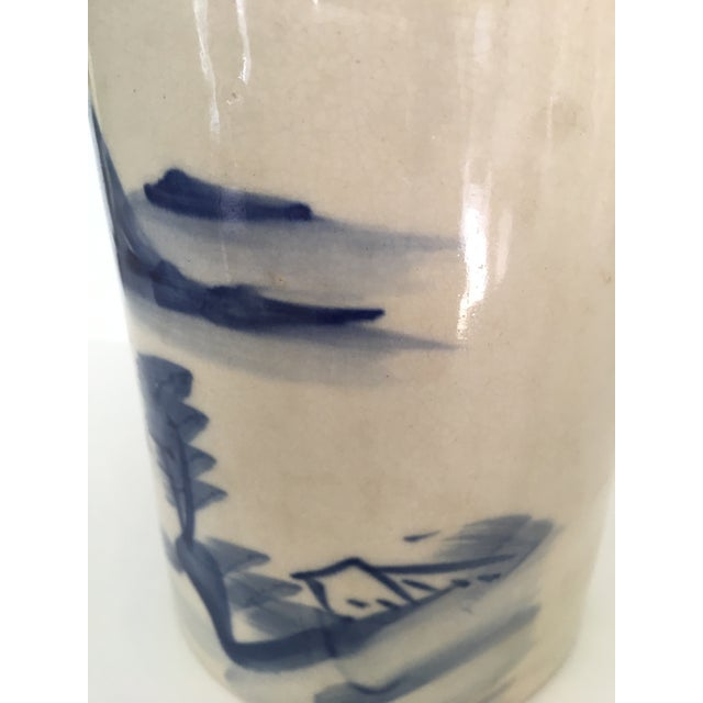 Early 20th Century 20th Century Chinese Blue and White Landscape Design Brush Pot For Sale - Image 5 of 10