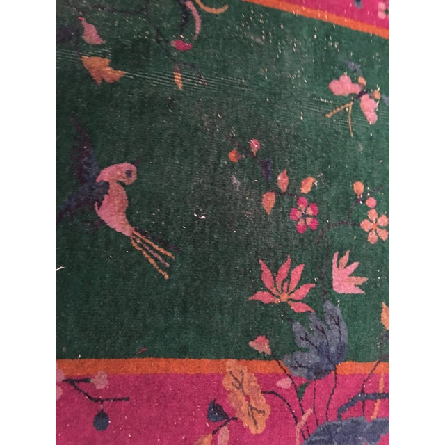 Antique Chinese Art Deco Flowers & Birds Rug - 2′11″ × 4′10″ - Image 9 of 9