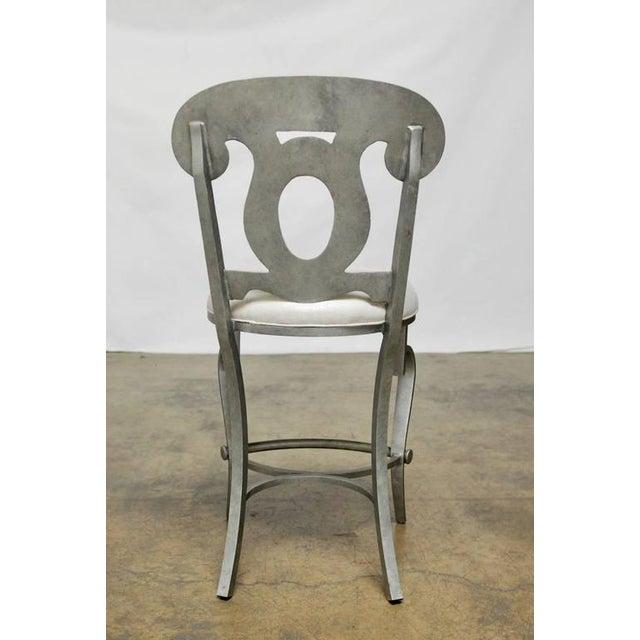 Modern Biedermeier Style Metal Barstools - Set of 3 - Image 10 of 10