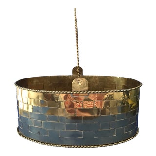 1980's Vintage Woven Brass Basket/Cachepot For Sale