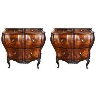 19th Century Italian Walnut Bombe Commodes - A Pair