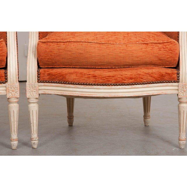 19th Century French 19th Century Painted Louis XVI Style Bergères- A Pair For Sale - Image 5 of 13