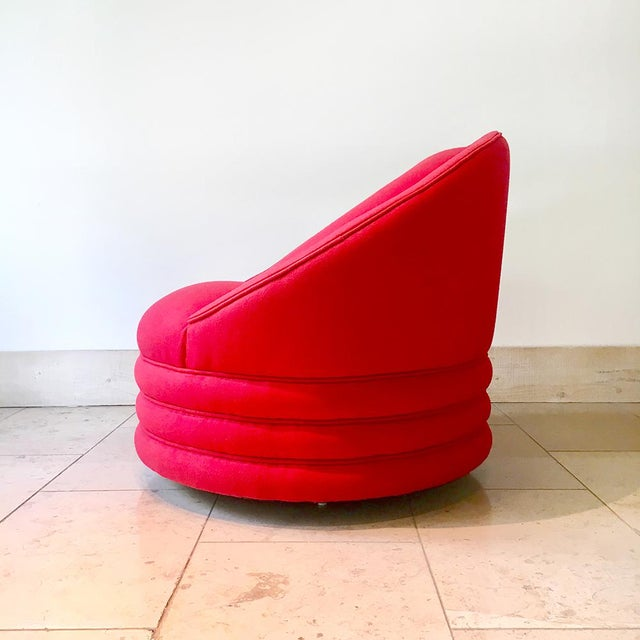 Mid-Century Modern A Single Wool Upholstered Swivel Armchair 1980s For Sale - Image 3 of 6