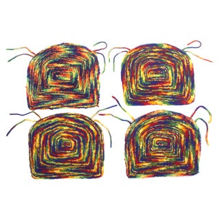 Rainbow Hooked Chair Pads - Set of 4