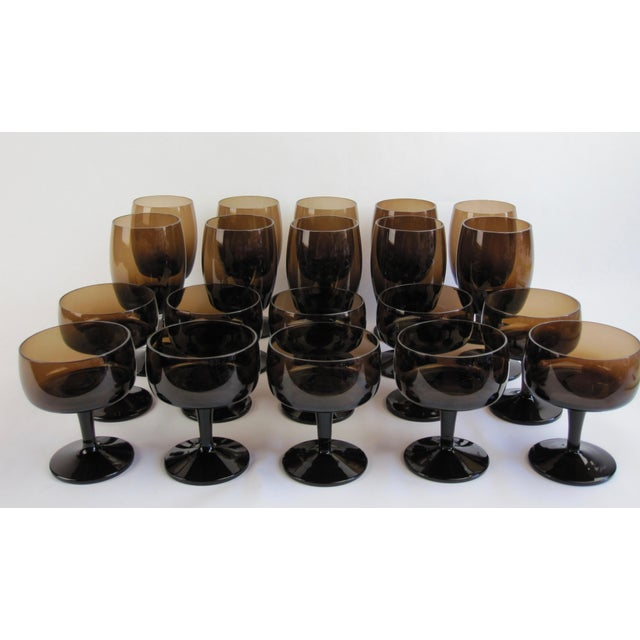"Mid-Century brown glassware set of 11 coupes and 10 goblets in as-new condition. Coupes for champagne or gelato are 3.25""..."