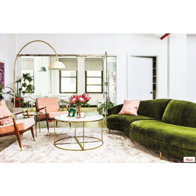 Anthropologie Anthropologie Grace Two-Piece Serpentine Sectional in Emerald Velvet For Sale - Image 4 of 7