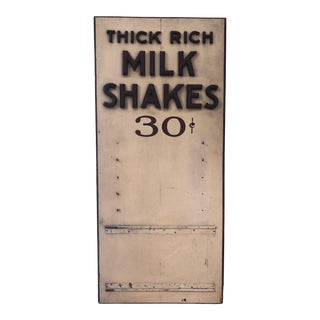 1930s Antique Trade Thick Rich Milk Shakes Advertisement Sign For Sale