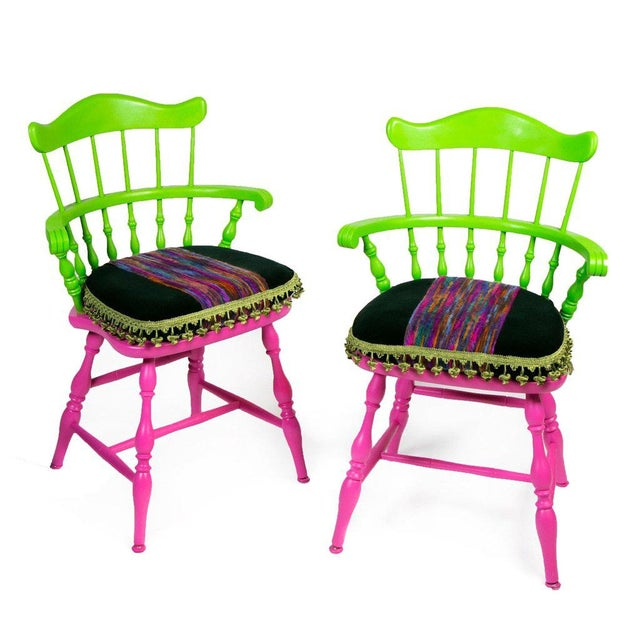 Vibrant Colorful Comb Back Chairs - A Pair - Image 2 of 7