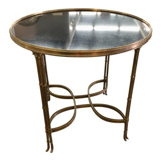 Faux Brass Bamboo Marble Top Accent Table For Sale
