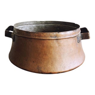 Antique Copper Pot With Iron Handles For Sale