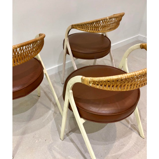 Enamel 1960s Vintage Arthur Umanoff for Shaver Howard Painted Wrought Iron and Rattan Dining Chairs- Set of 3 For Sale - Image 7 of 13