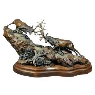 "Western Bronze of Elk ""Forces of Nature"" Sculpture by Ken Rowe For Sale"