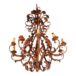 Large French Antique Iron Chandelier For Sale